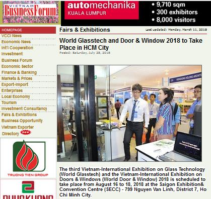 The 3rd World Glasstech Vietnam featured on Vietnam Business